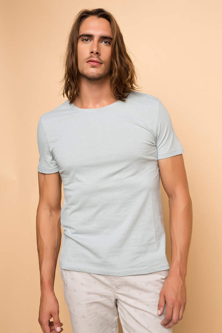 DeFacto Turkuaz Erkek Basic Regular T-shirt 1