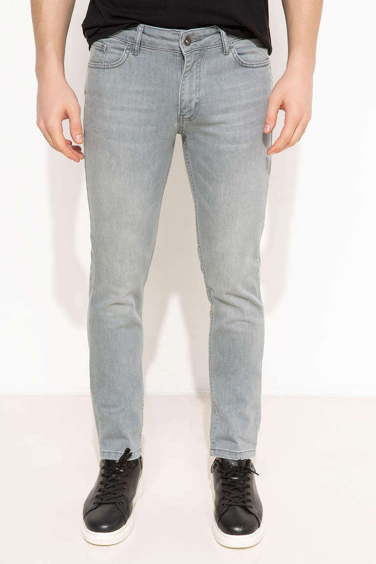 DeFacto Gri Erkek Pedro Slim Fit Denim Pantolon 2