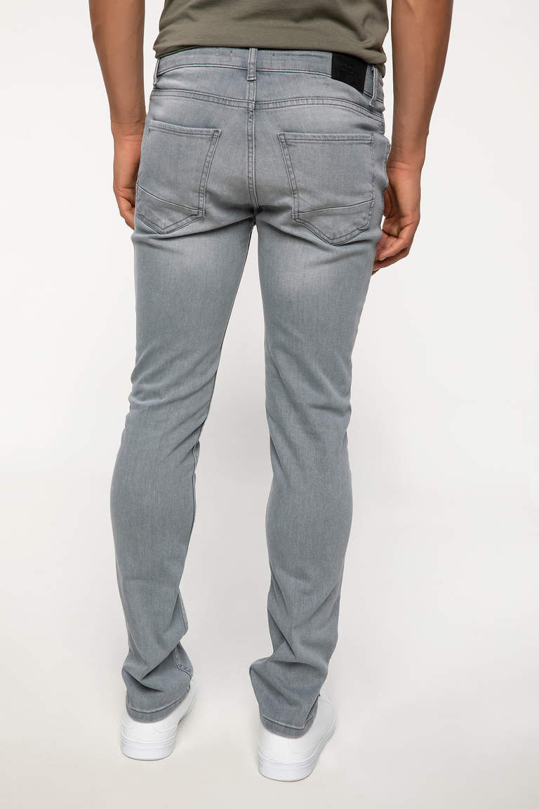 DeFacto Gri Erkek Pedro Slim Fit Denim Pantolon 3