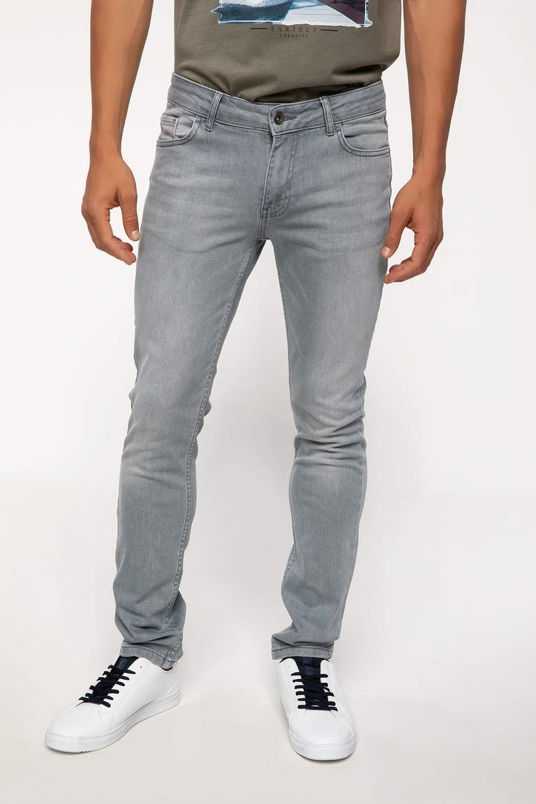 DeFacto Gri Erkek Pedro Slim Fit Denim Pantolon 4