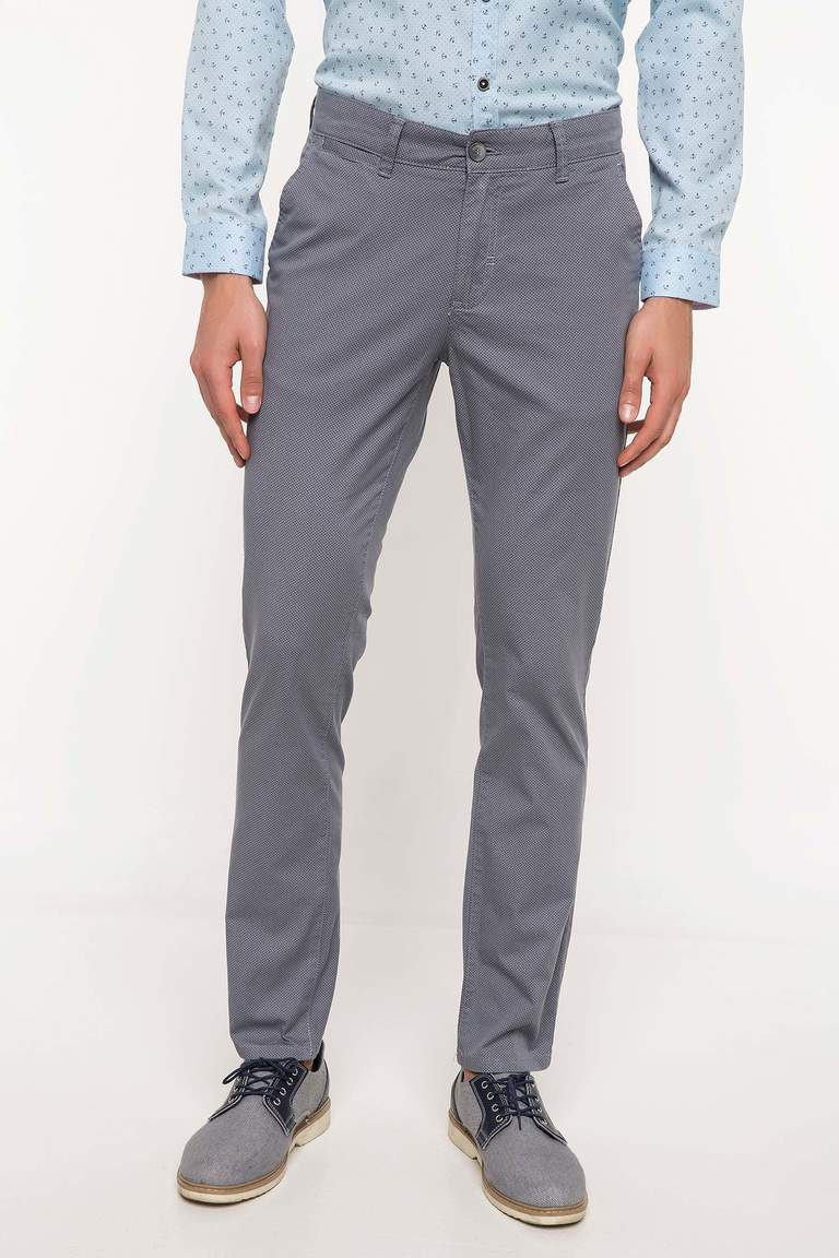 DeFacto Gri Erkek Bruno Slim Fit Chino Pantolon 2