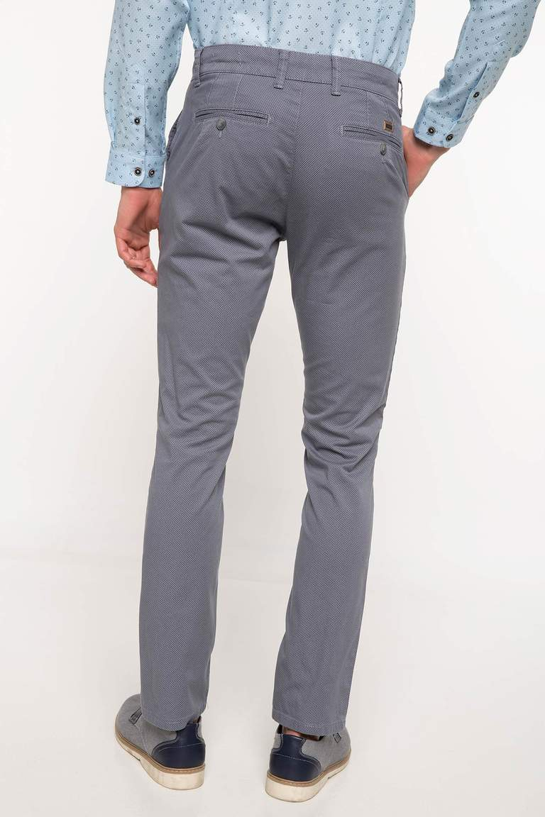 DeFacto Gri Erkek Bruno Slim Fit Chino Pantolon 3