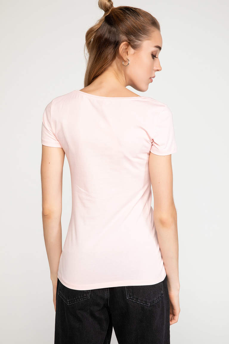 DeFacto Pembe Slim Fit Baskılı T-shirt 4