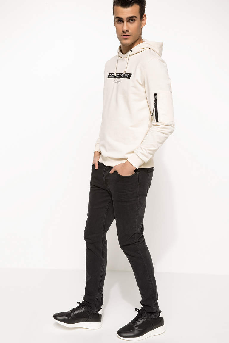 Slim Fit Kapüşonlu Sweatshirt
