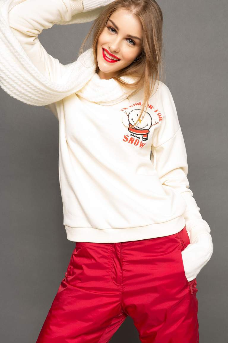 DeFacto Ekru Kadın Smiley World Lisanslı Sweatshirt 4