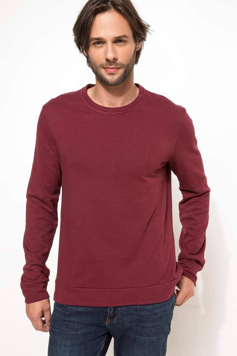 DeFacto Bordo Erkek Slim Fit Sweatshirt 1