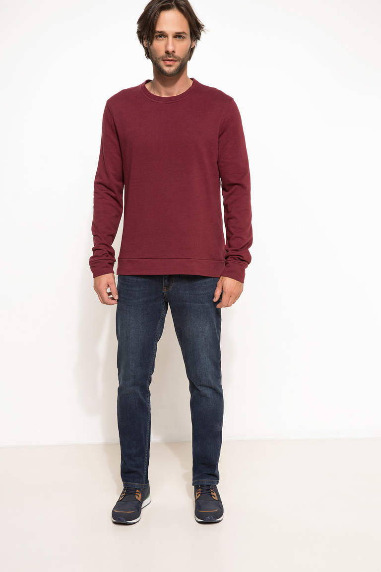 DeFacto Bordo Erkek Slim Fit Sweatshirt 2