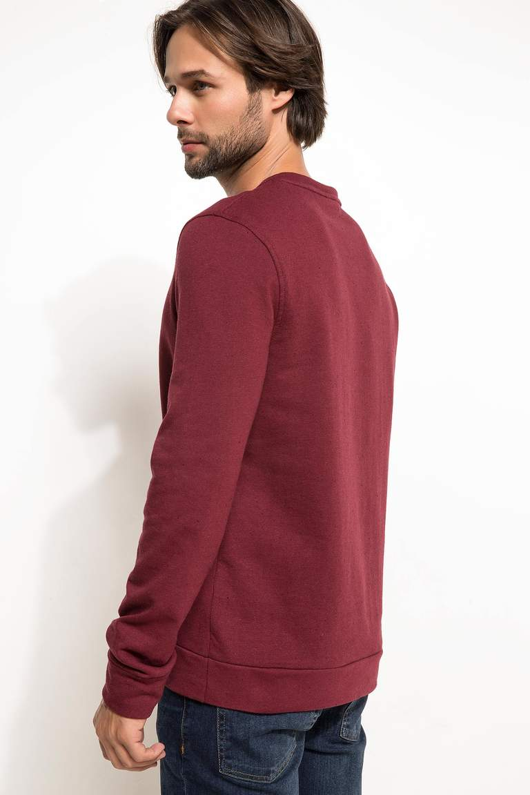 DeFacto Bordo Erkek Slim Fit Sweatshirt 3