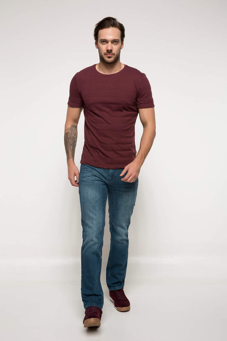 DeFacto Bordo Erkek Slim Fit T-shirt 2