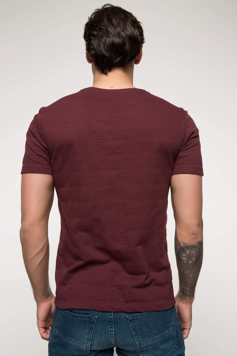 DeFacto Bordo Erkek Slim Fit T-shirt 3