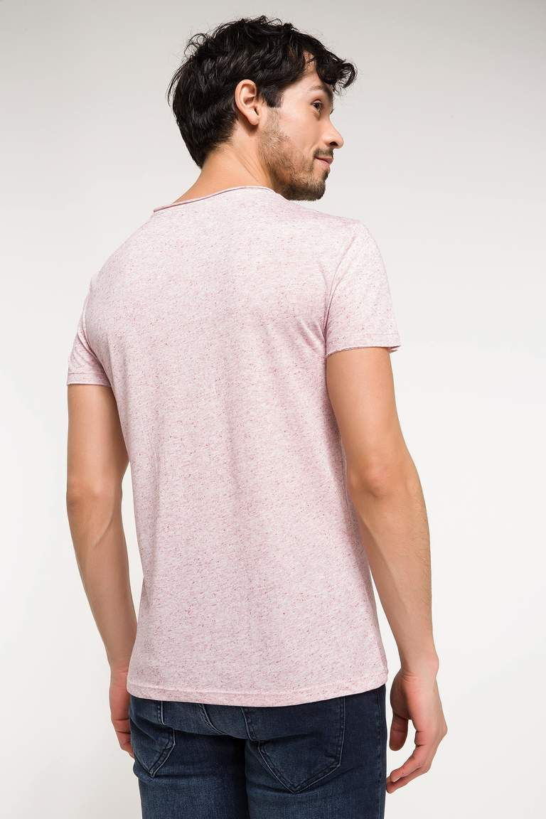 DeFacto Bordo Erkek Slim Fit V Yaka T-shirt 3