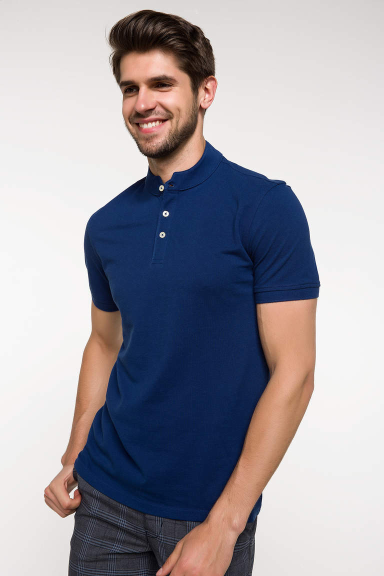 DeFacto Çivit Mavisi Slim Fit Polo T-shirt 1
