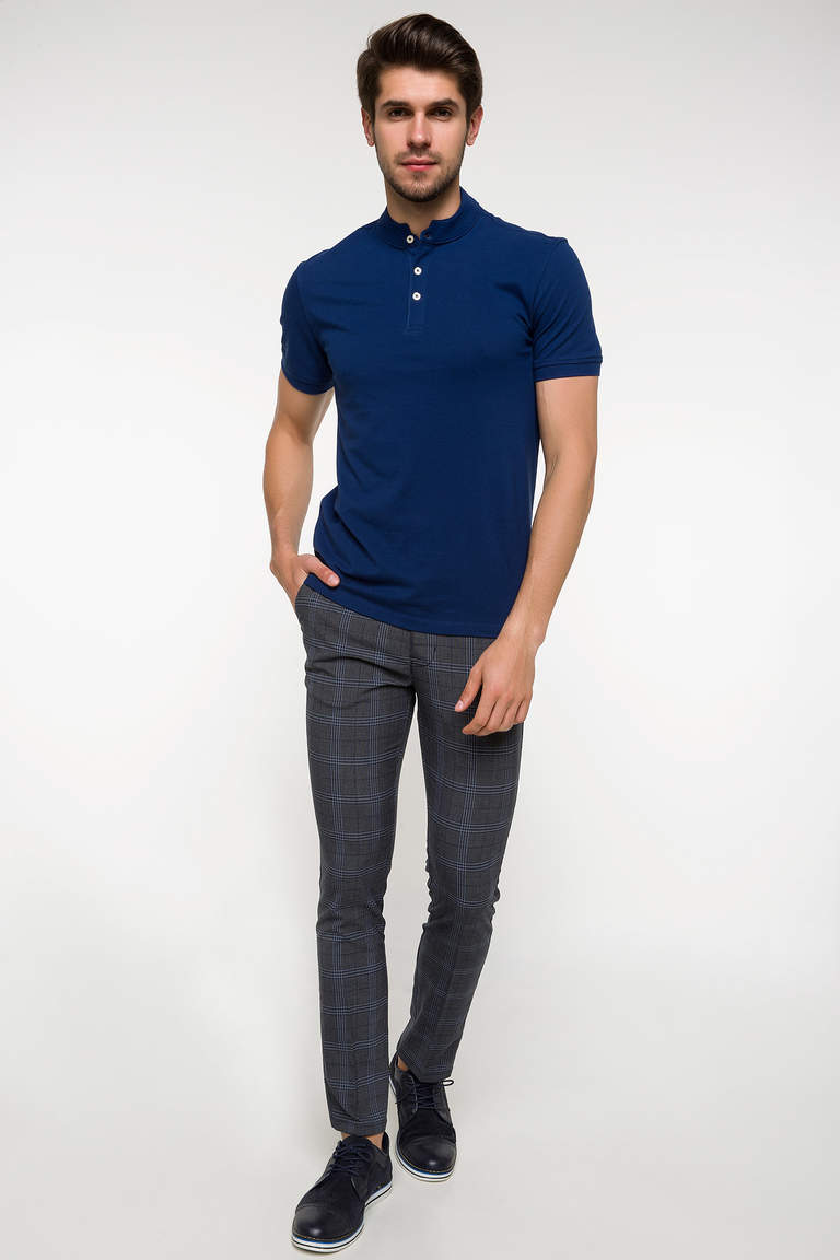 DeFacto Çivit Mavisi Slim Fit Polo T-shirt 2