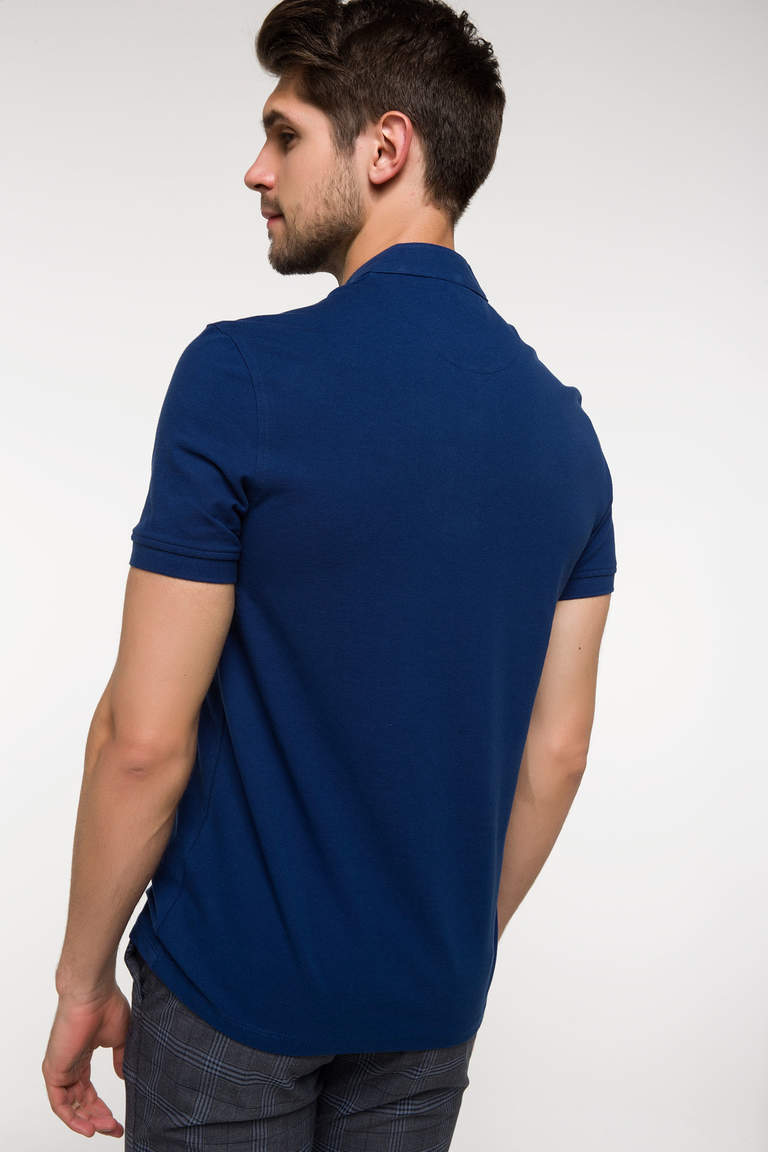 DeFacto Çivit Mavisi Slim Fit Polo T-shirt 4