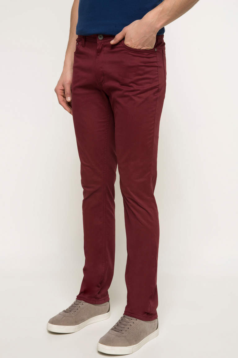 DeFacto Bordo Erkek Bruno Slim Fit Pantolon 2