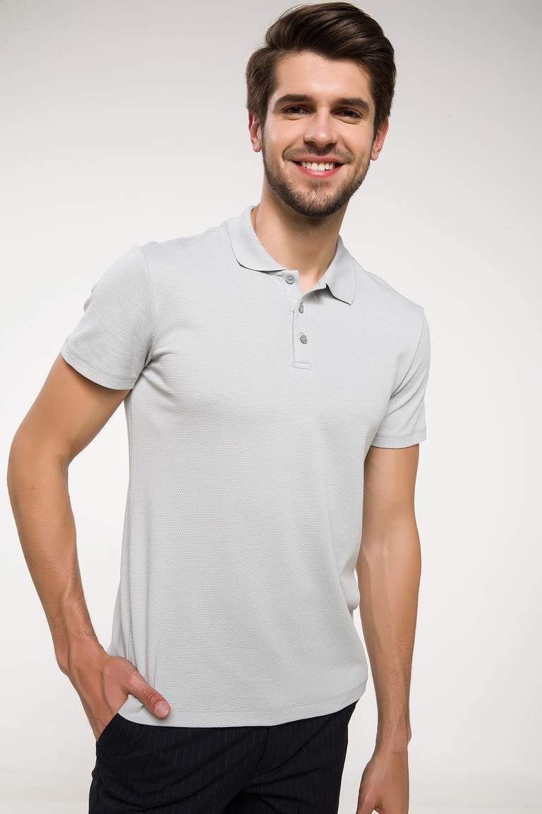 DeFacto Gri Erkek Slim Fit Polo Yaka T-shirt 1
