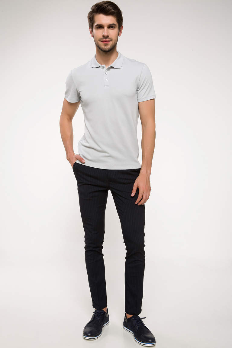 DeFacto Gri Erkek Slim Fit Polo Yaka T-shirt 2