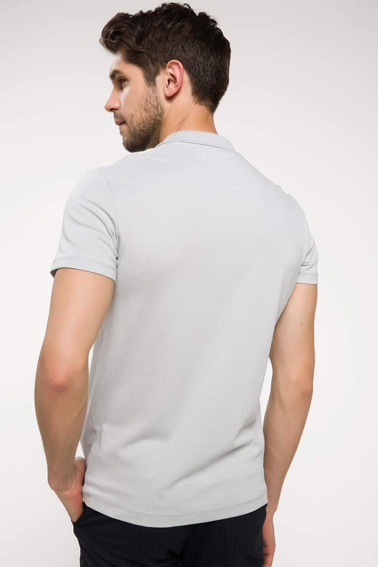 DeFacto Gri Erkek Slim Fit Polo Yaka T-shirt 4