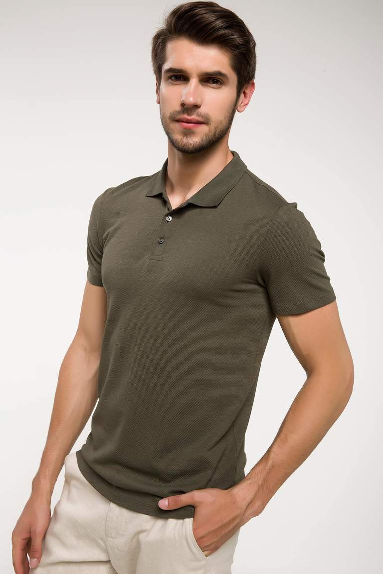 DeFacto Haki Erkek Slim Fit Polo Yaka T-shirt 1