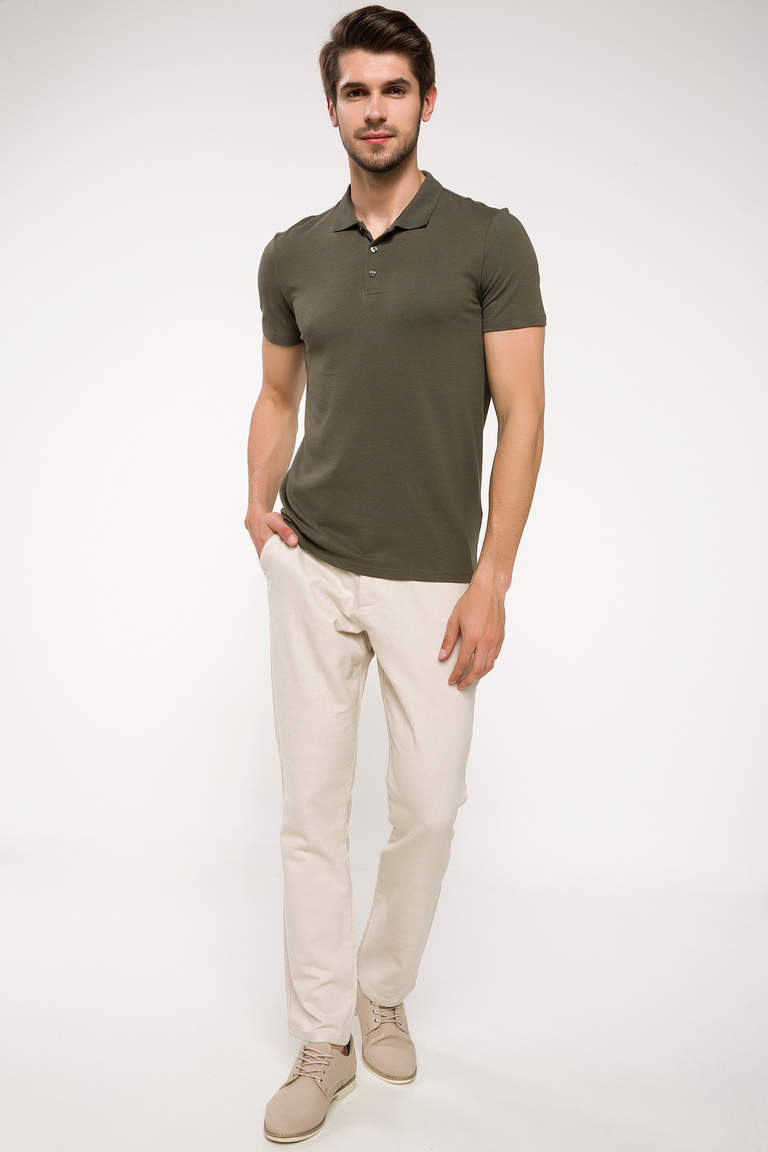 DeFacto Haki Erkek Slim Fit Polo Yaka T-shirt 2