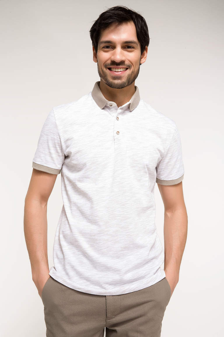 DeFacto Bej Erkek Slim Fit Polo Yaka T-shirt 1