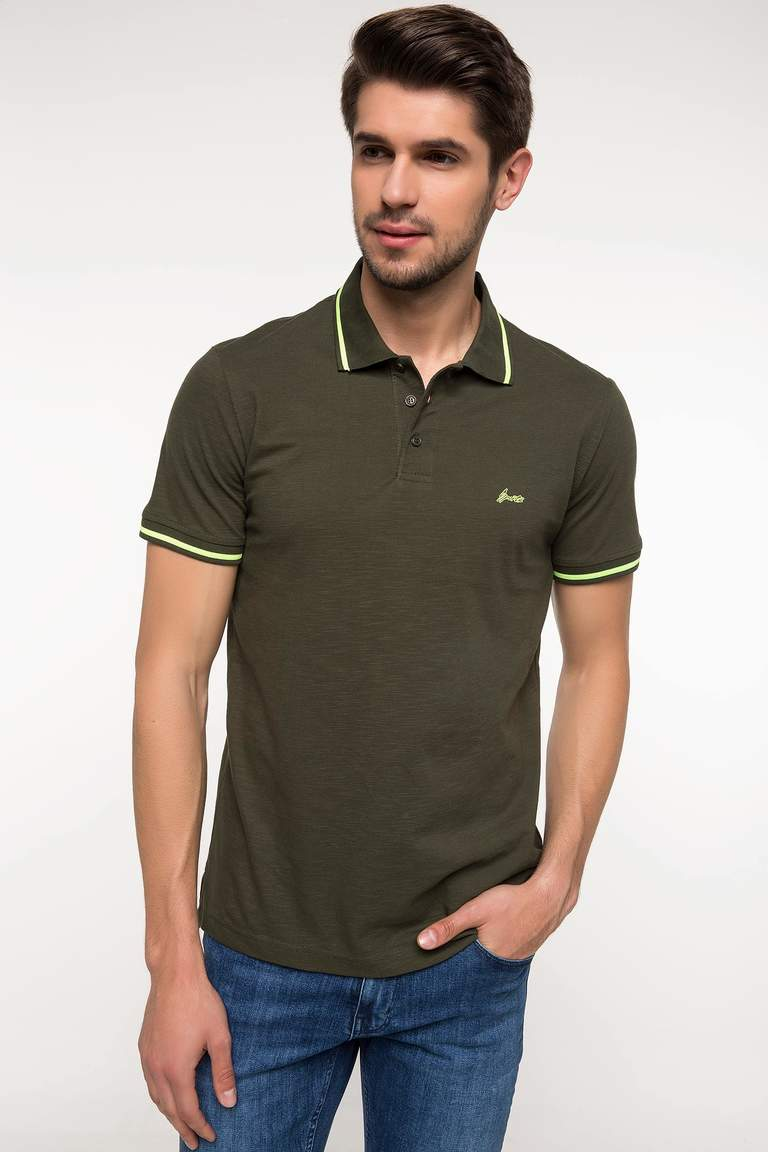 DeFacto Haki Erkek Slim Fit Polo T-shirt 1