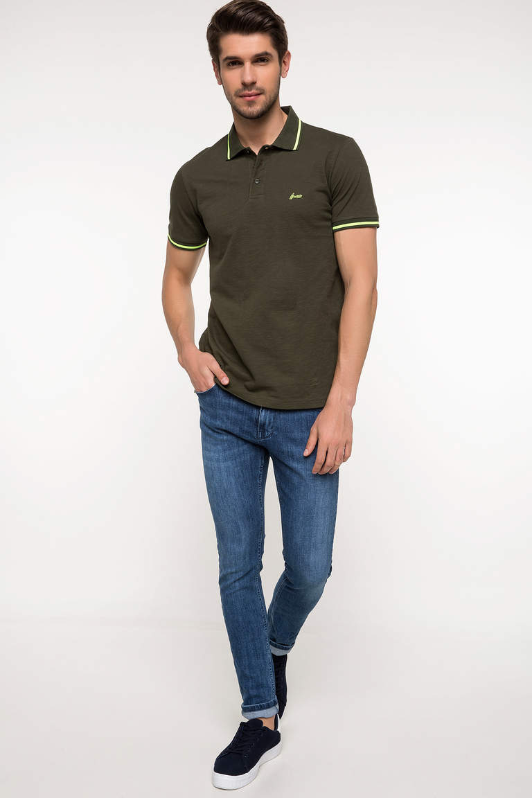 DeFacto Haki Erkek Slim Fit Polo T-shirt 2