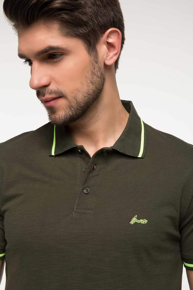 DeFacto Haki Erkek Slim Fit Polo T-shirt 3