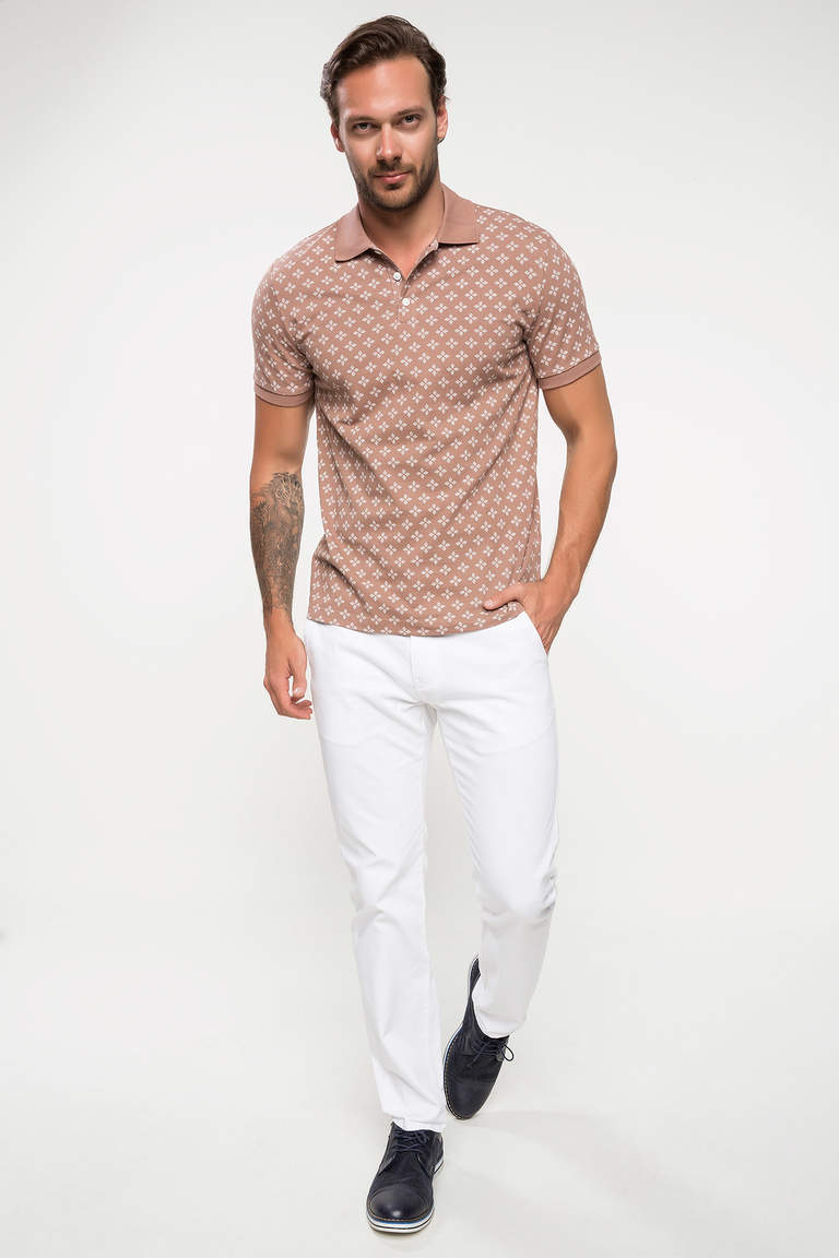 Slim Fit Floral Desenli Polo T-shirt