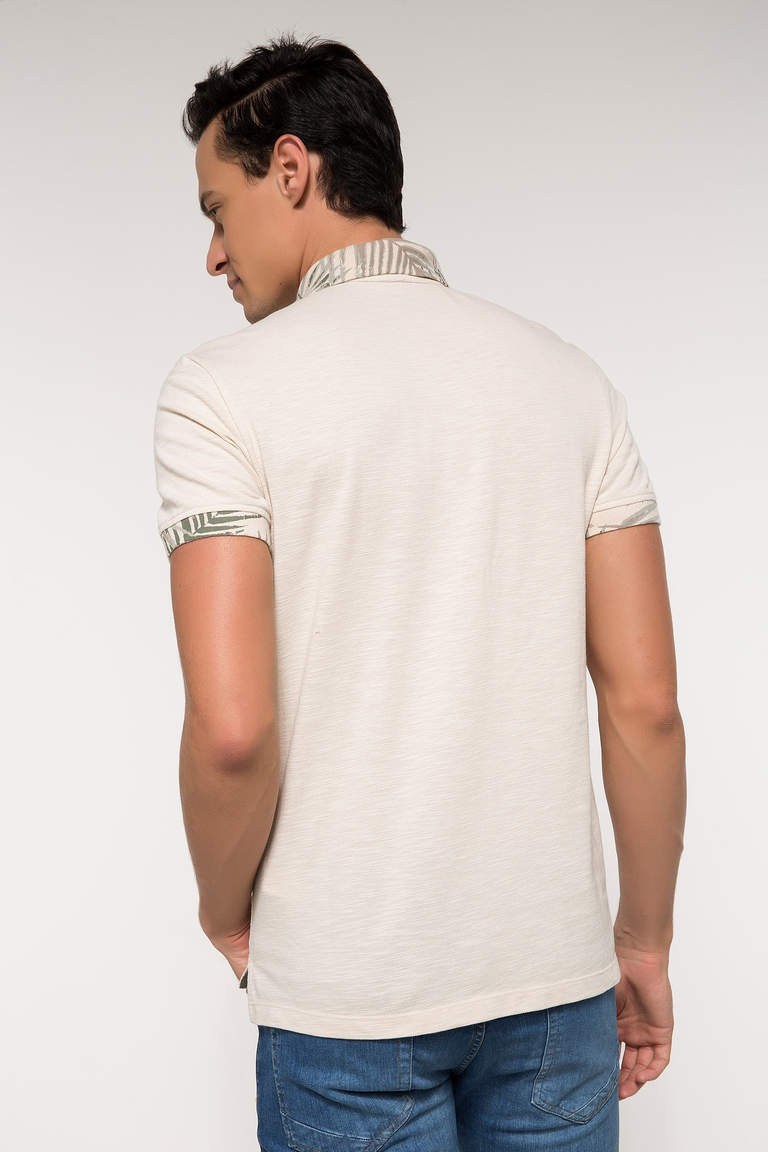 DeFacto Bej Erkek Slim Fit Polo Yaka T-shirt 3