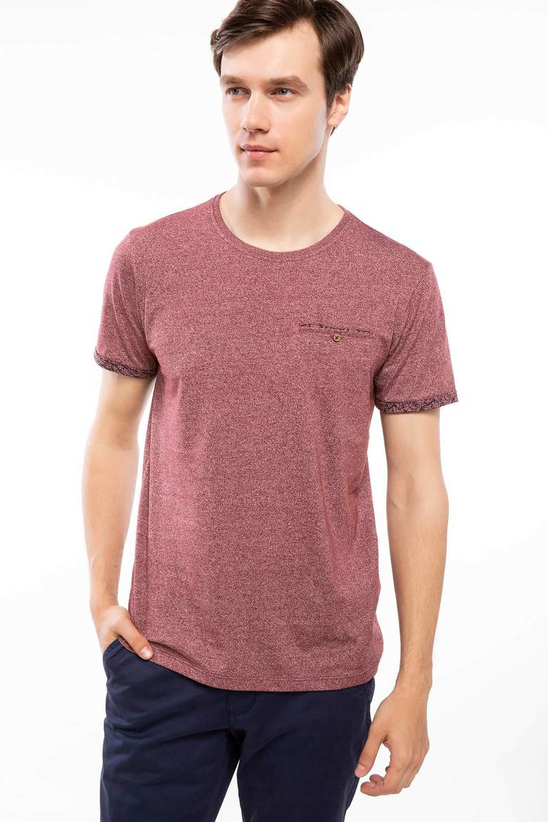 DeFacto Bordo Erkek Regular Fit Tek Cep T-Shirt 1