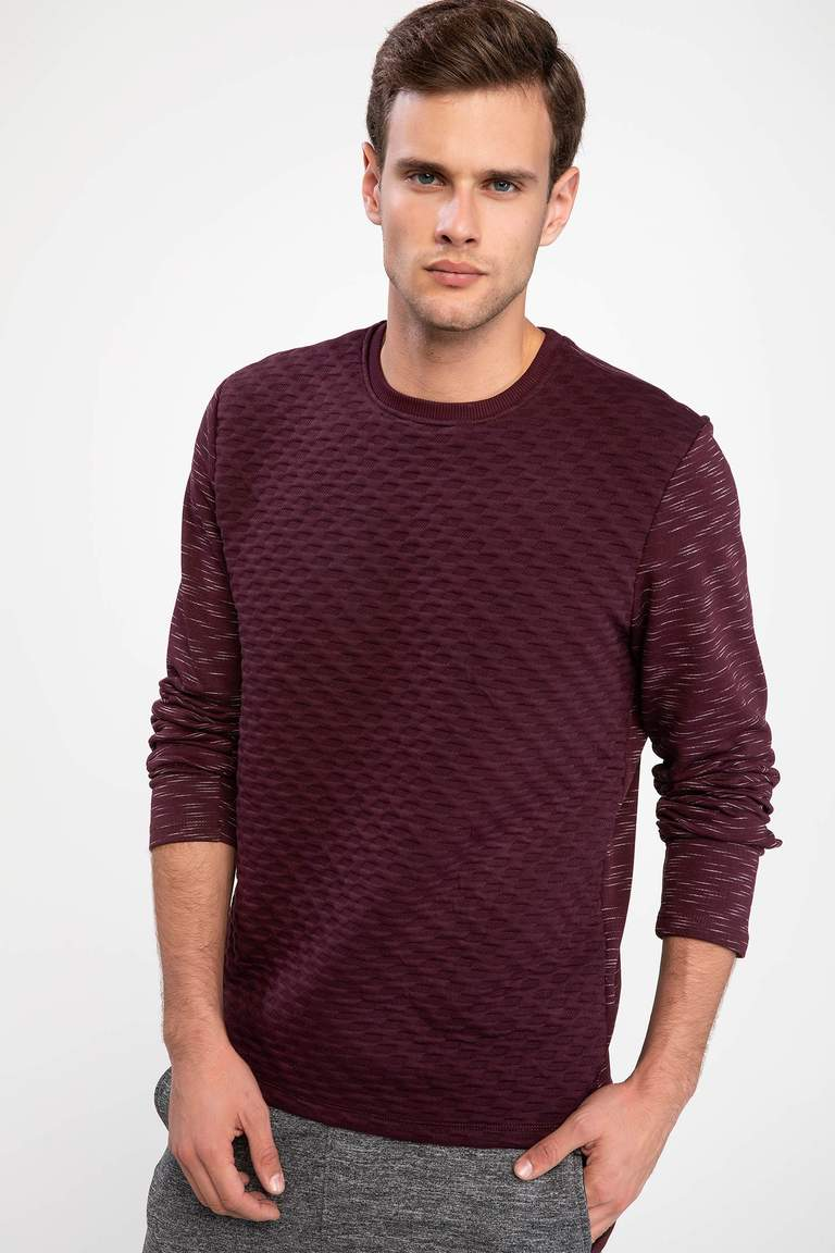 DeFacto Bordo Erkek Modern Fit Sweatshirt 1
