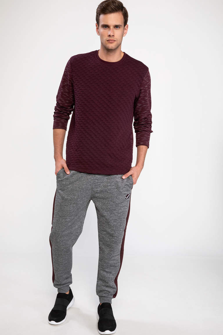 DeFacto Bordo Erkek Modern Fit Sweatshirt 2