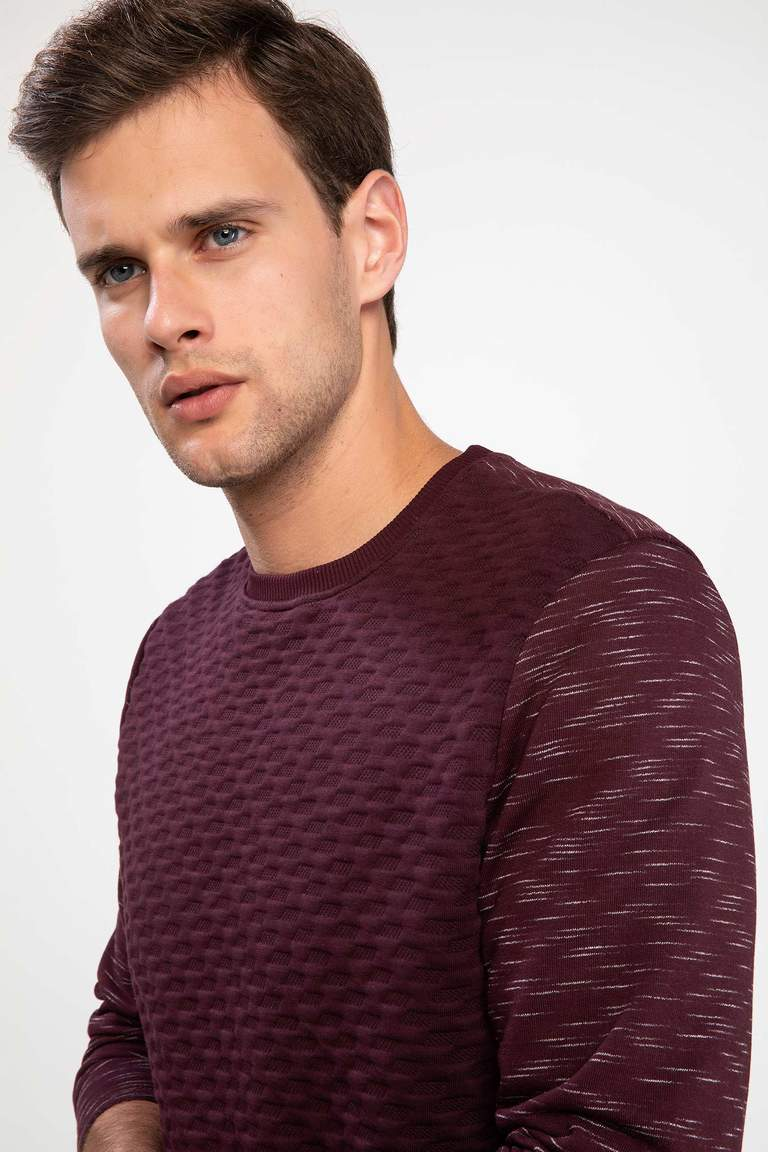 DeFacto Bordo Erkek Modern Fit Sweatshirt 3