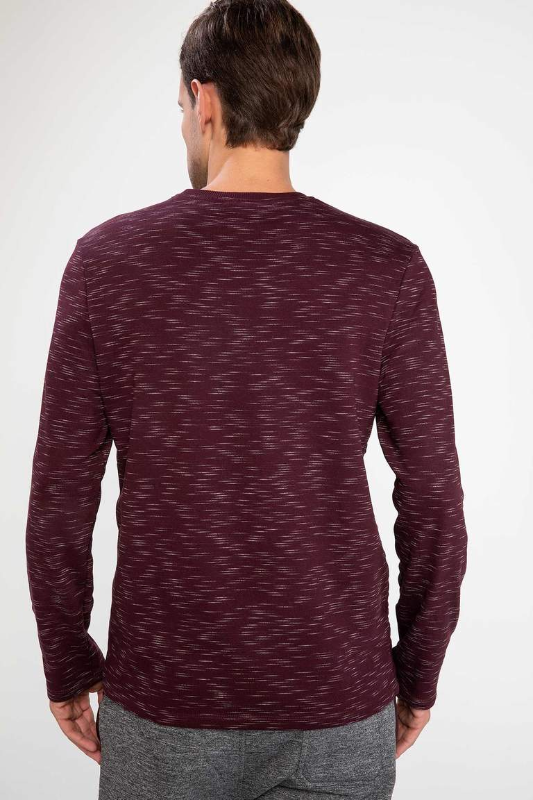 DeFacto Bordo Erkek Modern Fit Sweatshirt 4