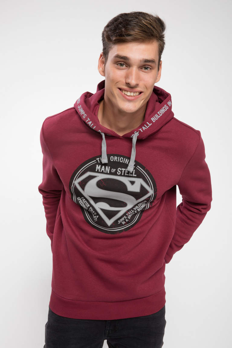 DeFacto Bordo Erkek Superman Lisanslı Slim Fit Sweatshirt 1