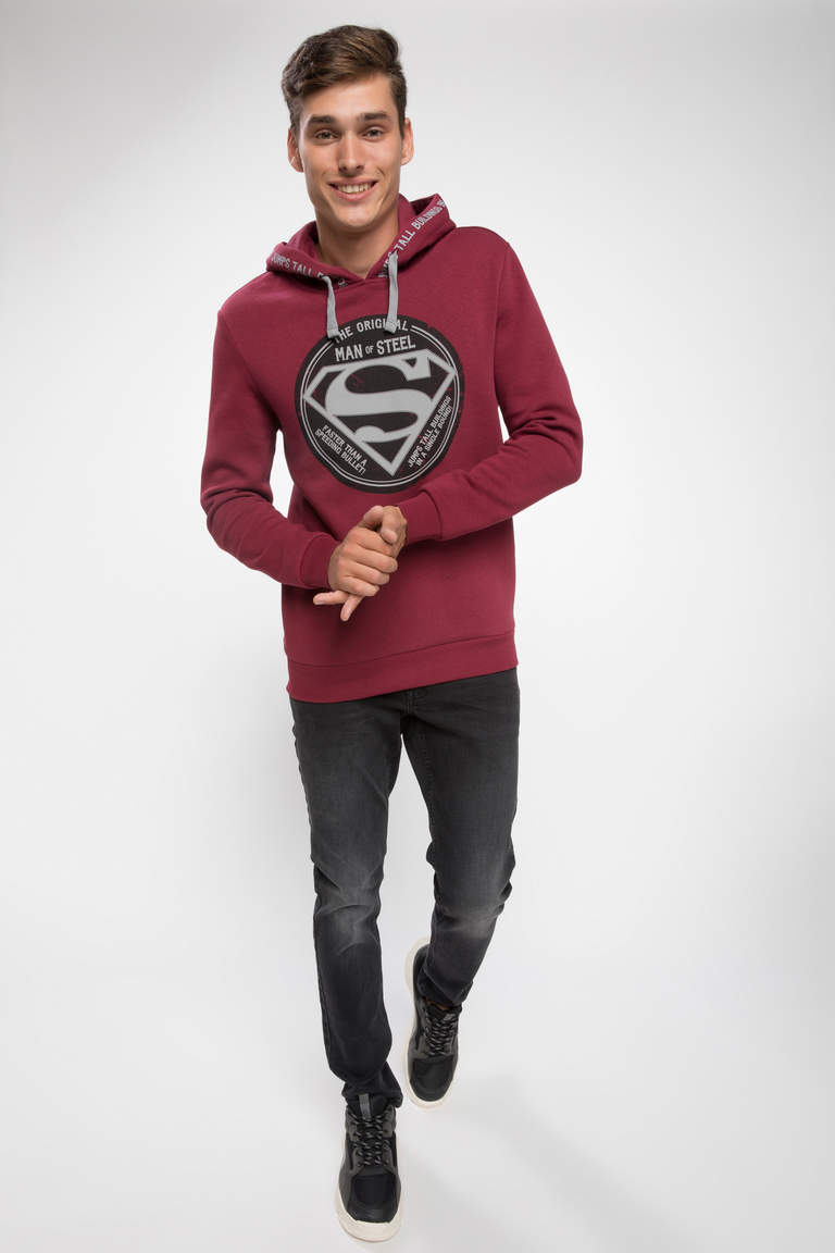 DeFacto Bordo Erkek Superman Lisanslı Slim Fit Sweatshirt 2