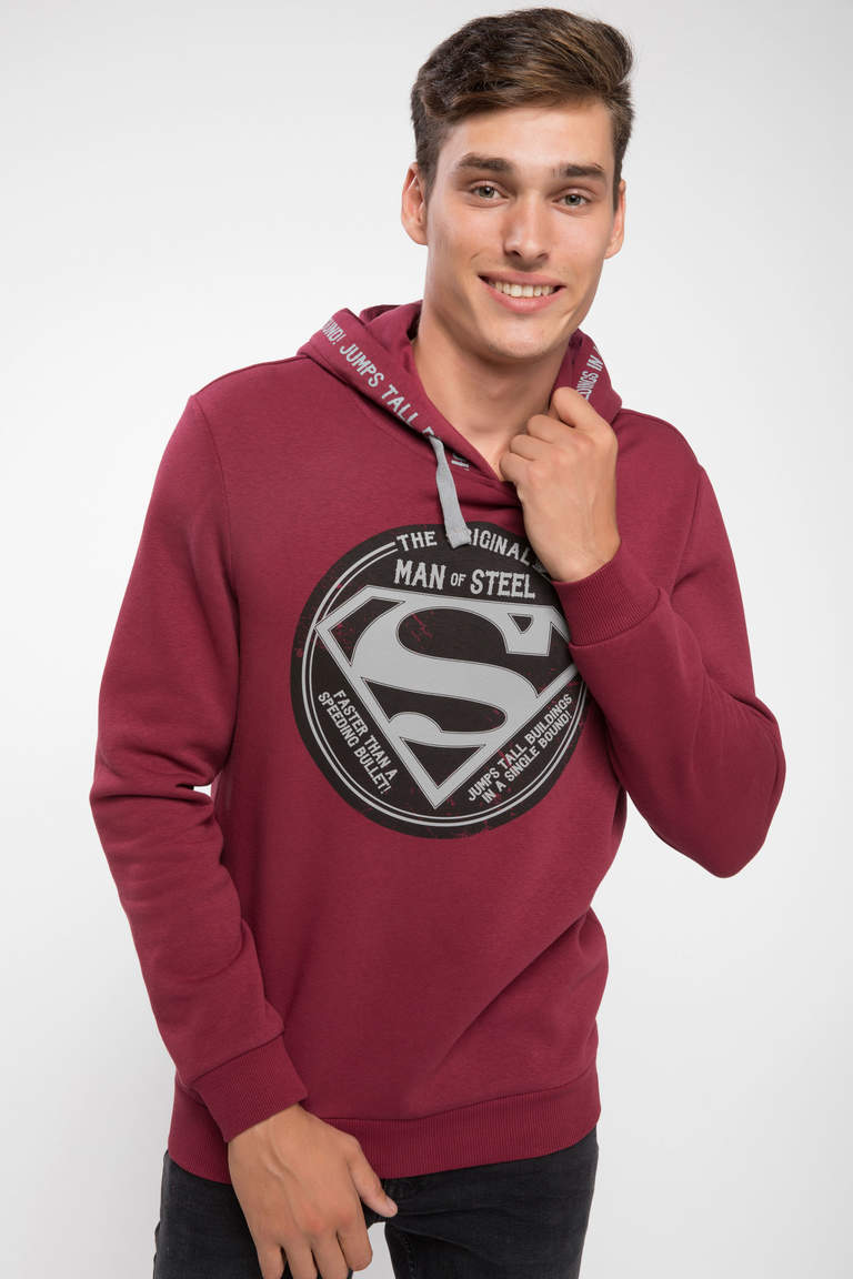 DeFacto Bordo Erkek Superman Lisanslı Slim Fit Sweatshirt 4