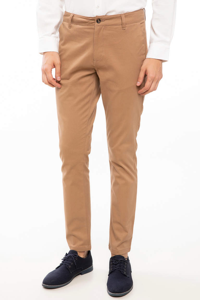 DeFacto Bej Erkek Bruno Slim Fit Chino Pantolon 1