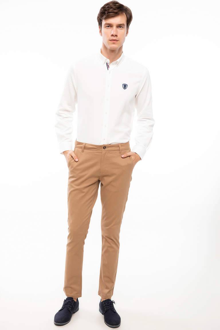DeFacto Bej Erkek Bruno Slim Fit Chino Pantolon 2