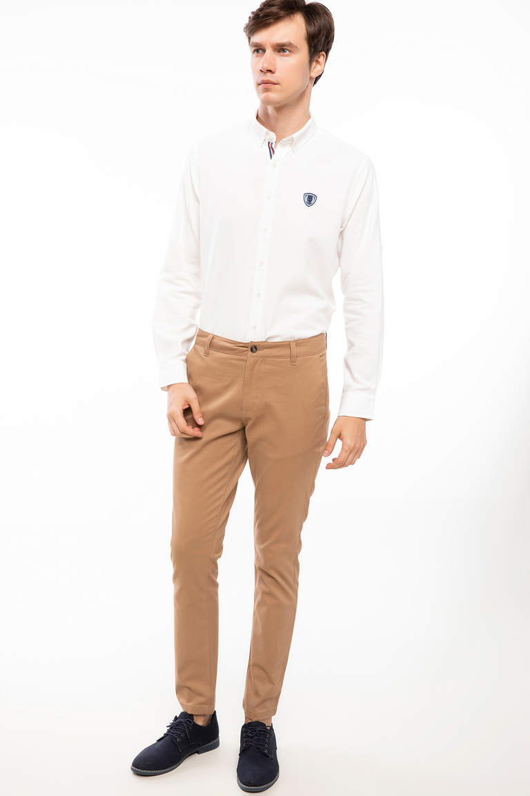 DeFacto Bej Erkek Bruno Slim Fit Chino Pantolon 4