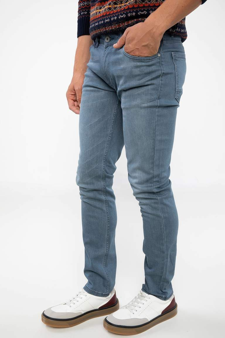 DeFacto Gri Erkek Pedro Slim Fit Denim Pantolon 1
