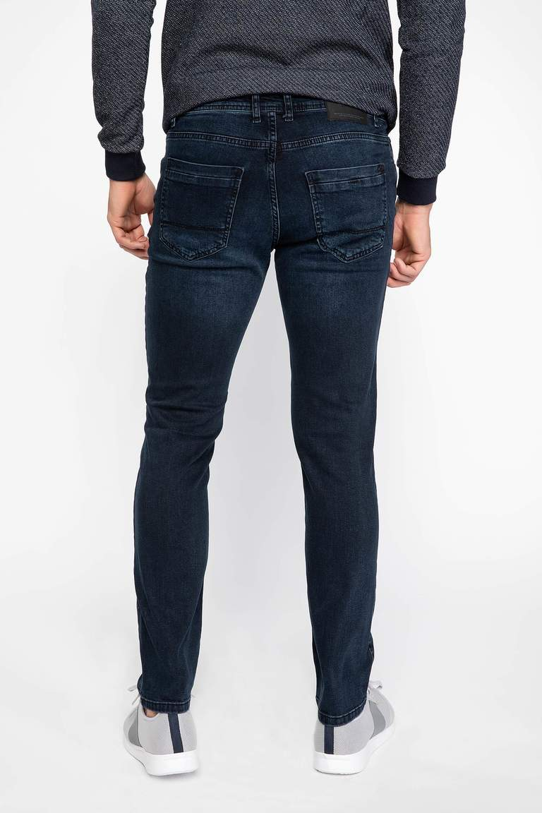 DeFacto Çivit Mavisi Erkek Sergio Regular Fit Denim Pantolon 3