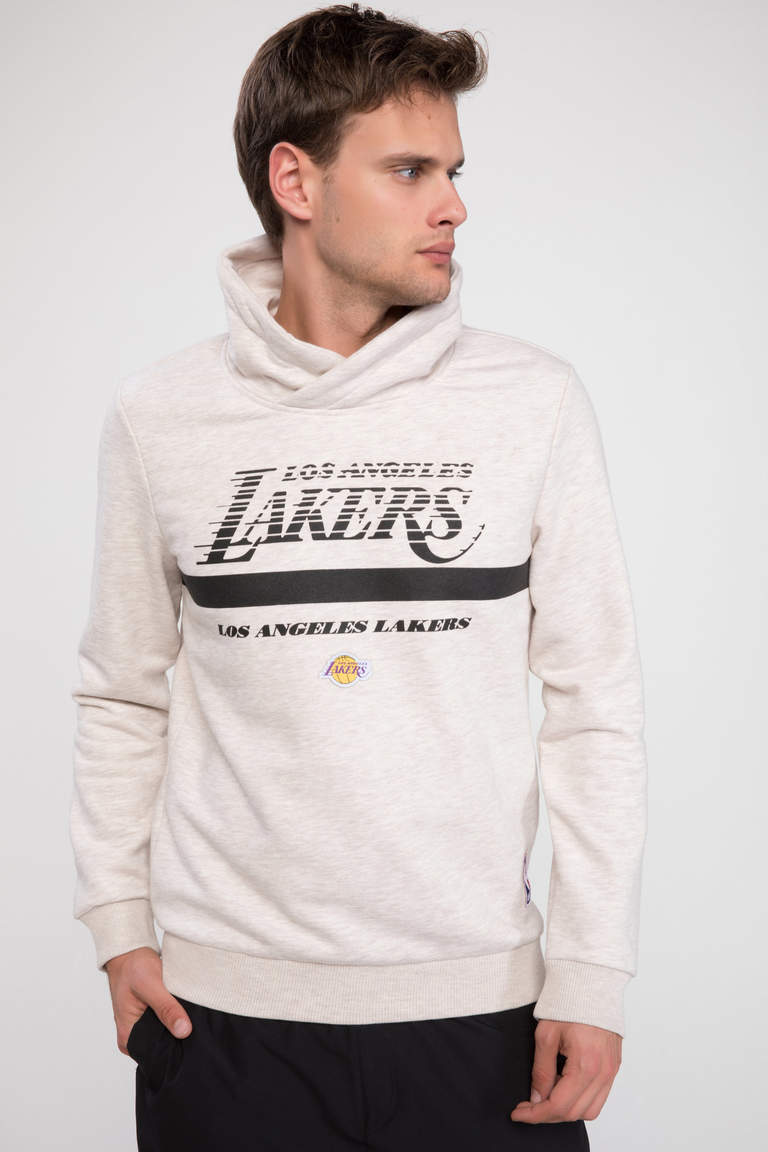 Lisanslı Los Angeles Lakers Slim Fit Sweatshirt