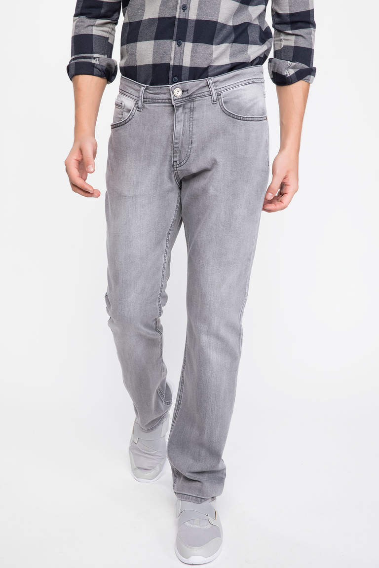 DeFacto Gri Erkek Diago Comfort Fit Denim Pantolon 1