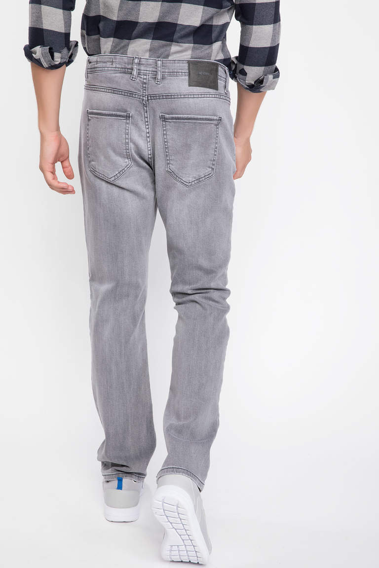 DeFacto Gri Erkek Diago Comfort Fit Denim Pantolon 3