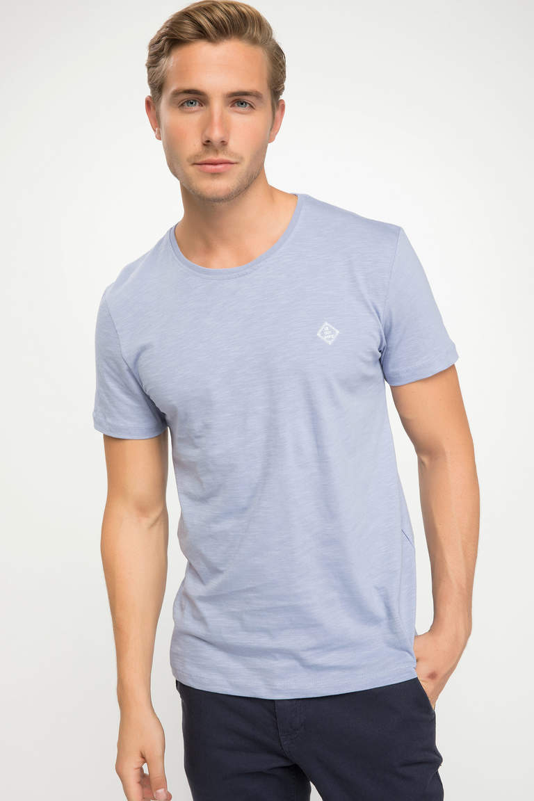 DeFacto Mor Erkek Basic Slim Fit T-shirt 1