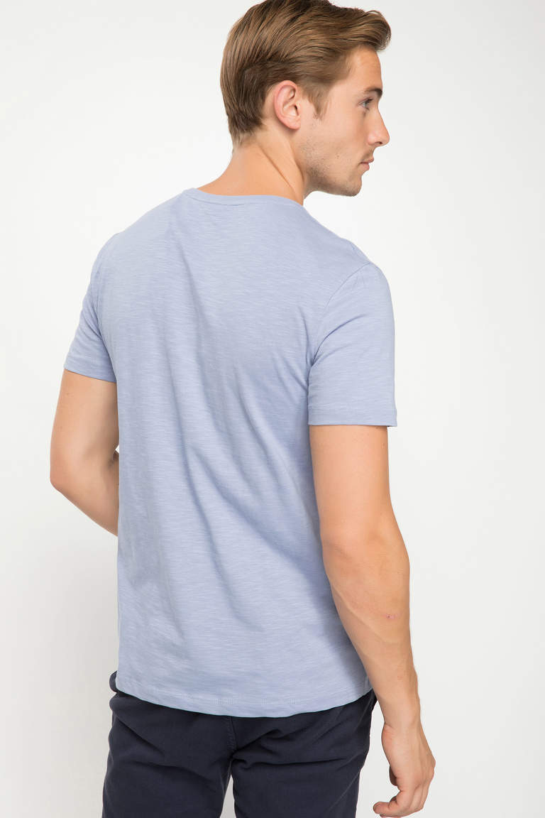 DeFacto Mor Erkek Basic Slim Fit T-shirt 3