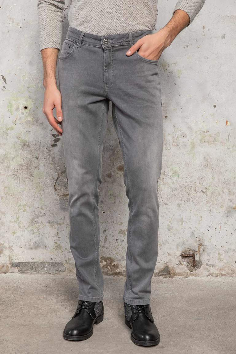 DeFacto Gri Erkek Bruno Slim Fit Denim Pantolon 1