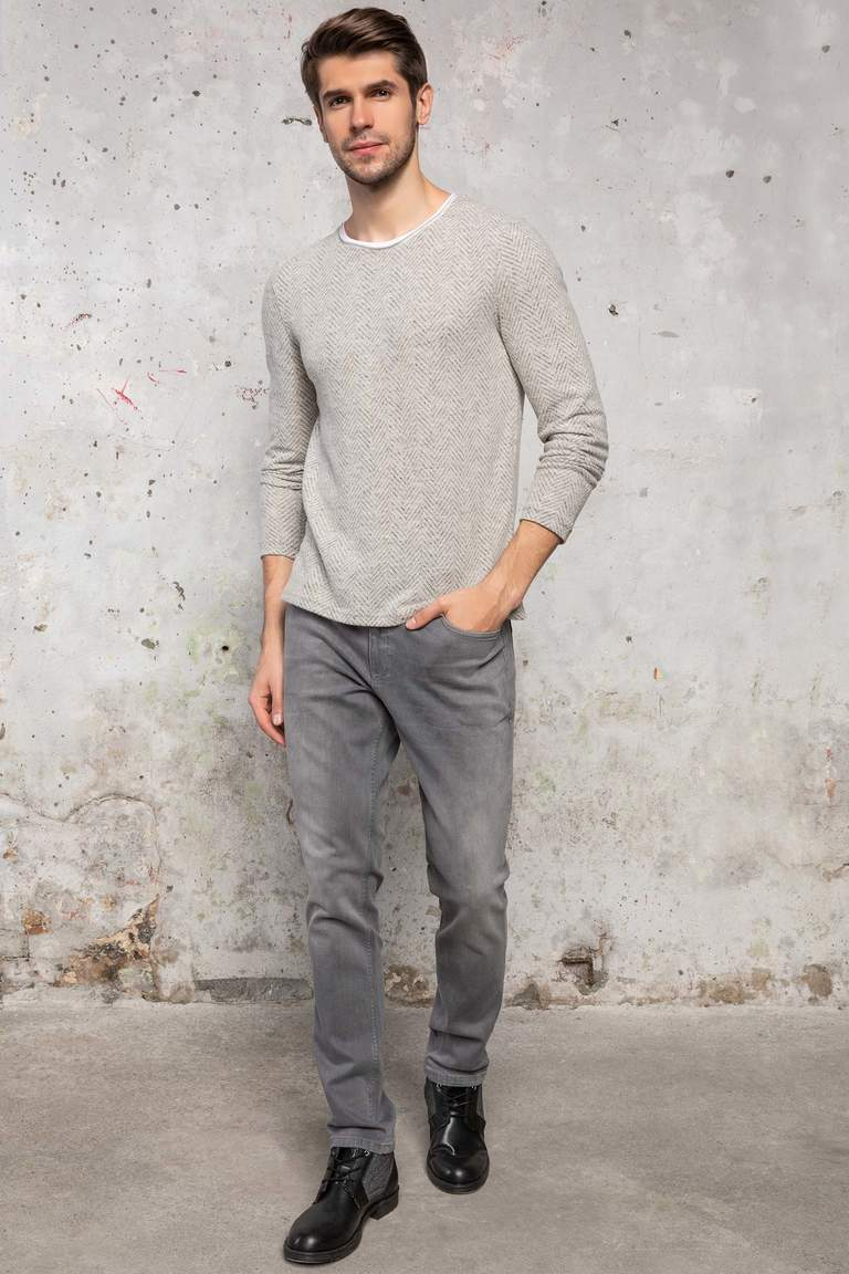 DeFacto Gri Erkek Bruno Slim Fit Denim Pantolon 2